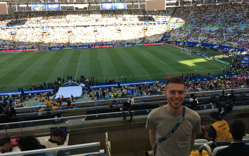 Manchester sports journalism trainee Jacob at the Maracanã stadium in Brazil