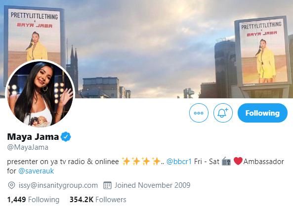 Maya Jama Twitter