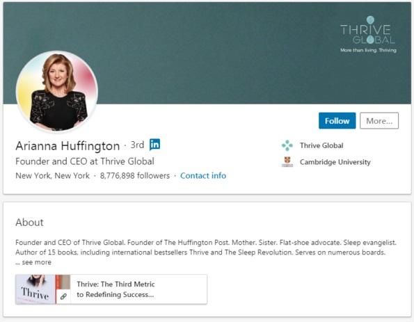 Arianna Huffingtons LinkedIn