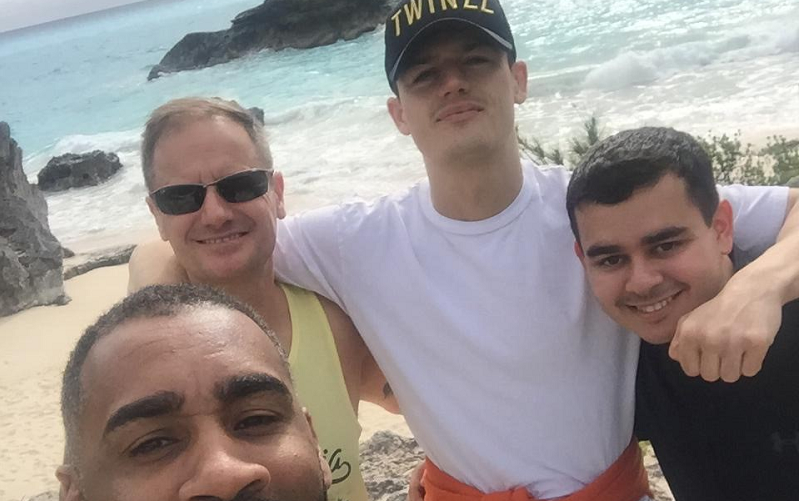 Luke in Bermuda filming his boxing documentary with his journalism bursary