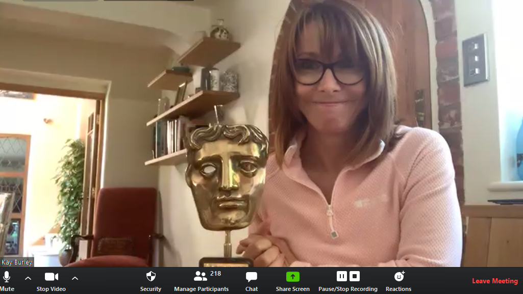 A Zoom screen grab of Kay Burley holding a BAFTA