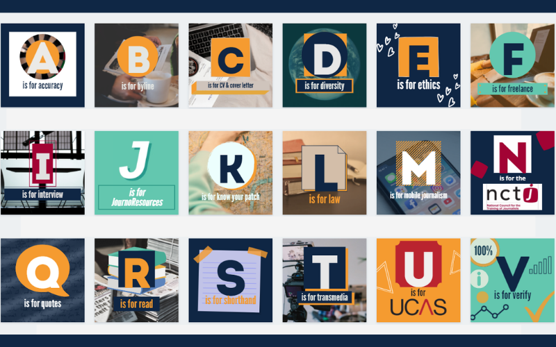 A-Z graphics in a grid form