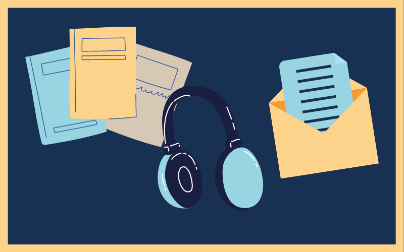 Graphic art of three publications, headphones and a letter, in navy blue, sky blue and yellow