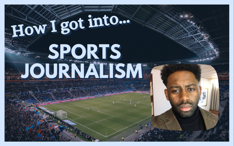 Graphic featured image for How I got into sports journalism - photo of Richard Amofa on right, football stadium in the background
