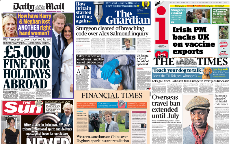 Collage of UK newspaper front pages 23/03/21