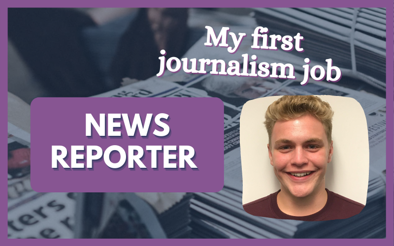 My first journalism job... news reporter graphic, with photo of Adam Wareing on the right