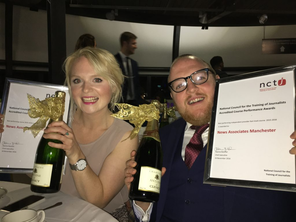 Rachel Bull and Andrew Greaves smiling holding their awards for top NCTJ-accredited courses.