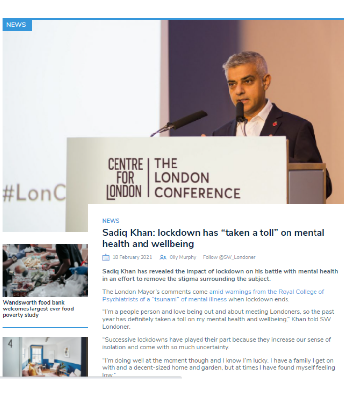 """South West Londoner article written by first year Oliver Murphy: Sadiq Khan: lockdown has """"taken a toll"""" on mental health and wellbeing"""