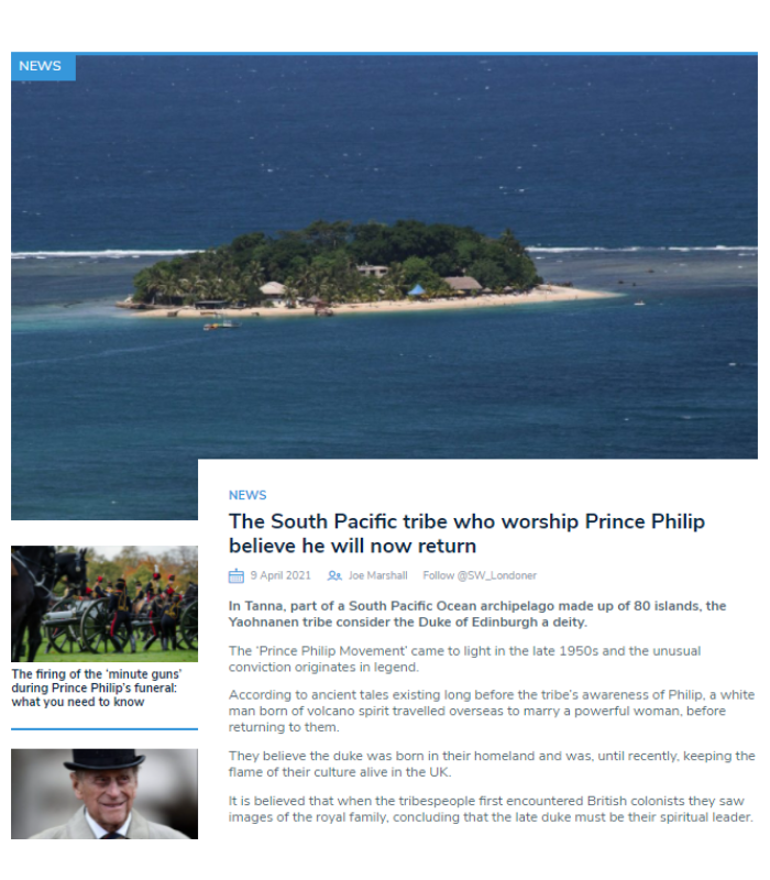 South West Londoner article by second year Joe Marshall: The South Pacific tribe who worship Prince Philip believe he will now return